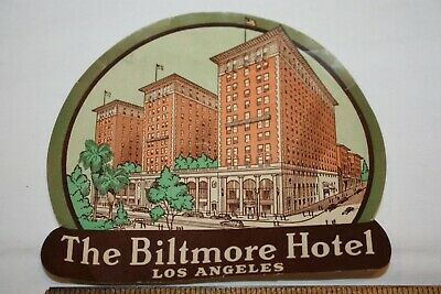 "VINTAGE ""THE BILTMORE HOTEL, LOS ANGELES"" 1930's LUGGAGE TRAVEL STICKER/LABEL"