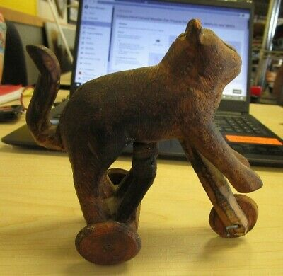 Antique Hand Carved Wooden Cat On Tricycle Toy