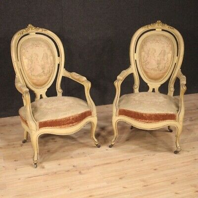 Pair of Chairs,Ancient Furniture Chairs for Living Room Wooden Lacquered Seats