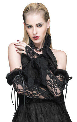 Long Mittens Black Lace with Lacing, Gothic Romantic devil fashion