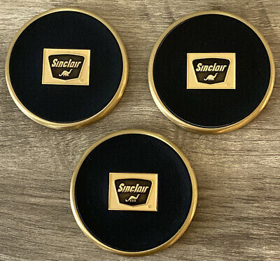 Vintage Very Rare Sinclair Oil Brass and Leather Dino Logo Coaster Set of 3