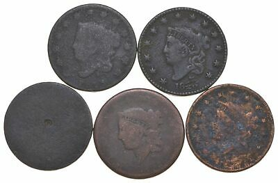Lot of 5 1817-1857 Early US Large Cent - Dateless - History You Can Hold! *301
