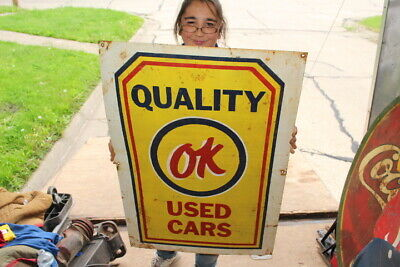 "Large Chevrolet Quality OK Used Cars Gas Oil 36"" Metal Sign"