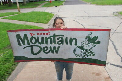 "Large Mountain Dew Ya Hooo! Hillbilly Soda Pop Gas Station 61"" Metal Sign"