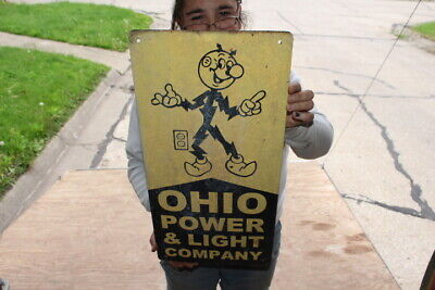 "Reddy Kilowatt Ohio Electric Power & Light Company Gas Oil 23"" Metal Sign"