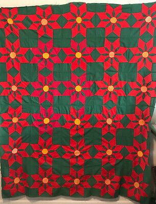 """Vintage Quilt Top Green and Red 62"""" X 75"""" Hand Pieced"""
