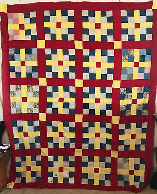 """Large Vintage Quilt Top, 73"""" X 90"""" Hand And Machine Pieced ,Red Yellow And Blues"""