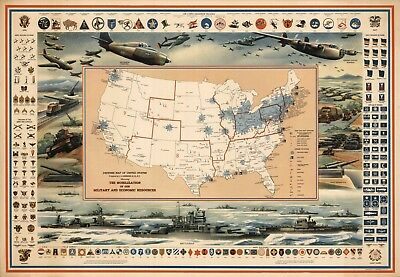 1942 Pictorial Defense Map United States Navy Military War Emblems Wall Poster