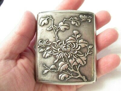 EARLY Vintage OLD CHINESE Silver CIGARETTE or COMPACT CASE - SIGNED WANG HING