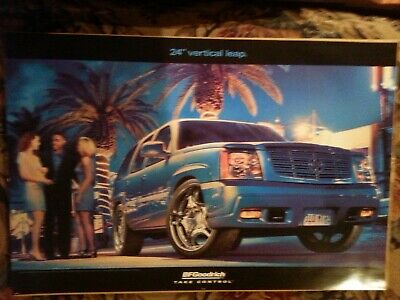Original Bf Goodrich Poster Sign Blue Cadilac Escalade