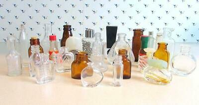 Group Lot of 29 Miniature Glass Bottles   Medicine Perfume ECT