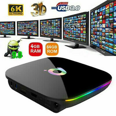 TV BOX Q PLUS ANDROID 9.0 4GB RAM 64 GB ROM SMART TV NETFLIX 2.4G WiFi HD 1080P