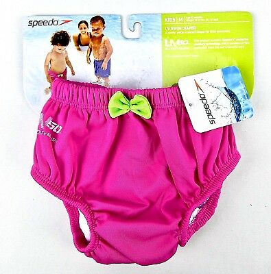 Speedo Swim Diaper Baby Girl Pink UV 50+ Polyester Reusable Size 12 Month