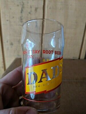 Dad's Root Beer Black Cow Float Syrup Line ACL Soda Glass 1950's Sign Bottle Cap