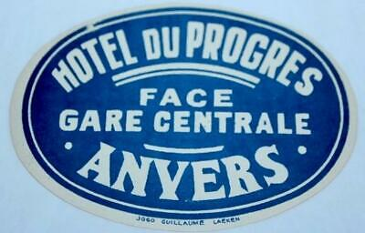 Vintage Luggage Label-A Hotel DuProgres Face Gare Centrale-Old Unused