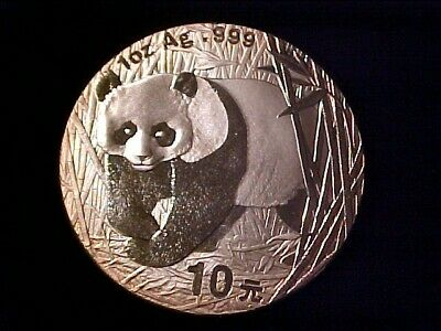 China 10 Yuan 1 Ounce Pure Silver Panda 2001 Gem Bu