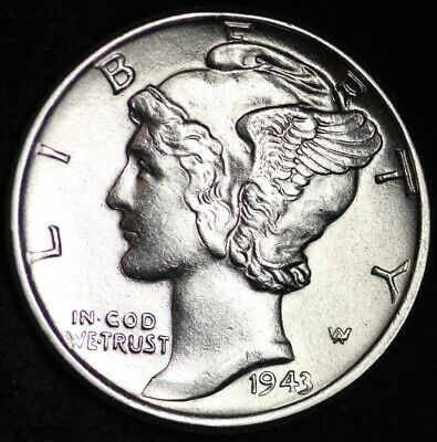 UNCIRCULATED 1943 Mercury Silver Dime FREE SHIPPING