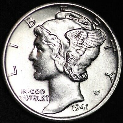 UNCIRCULATED 1941-S Mercury Silver Dime FREE SHIPPING