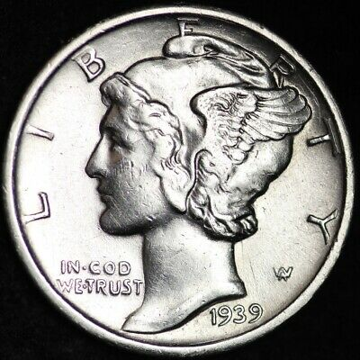 UNCIRCULATED 1939-D Mercury Silver Dime FREE SHIPPING A2