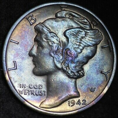 TONED UNCIRCULATED 1942-D Mercury Silver Dime FREE SHIPPING