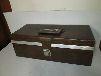 Light Brown Service Mfg. Company 8 Track Storage Case  Holds 24 Tapes