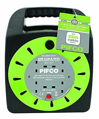 Pifco 4 Way UK 3Pin Plug 13amp Extension Reel with 25 Metre Heavy-Duty Winding