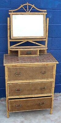 1910's 3 Drawer Bamboo Dressing Table with Central Mirror