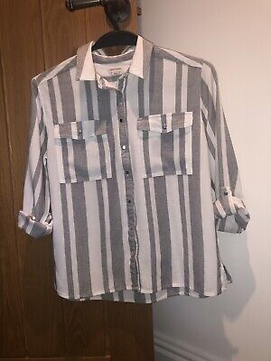 Girls River Island Grey And White Striped Shirt Age 11yrs