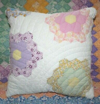 Vintage Grandmother's Flower Garden Farmhouse Feedsack Quilt Throw Pillow