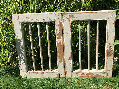Vintage Indian Wooden Iron Hinged Window Jali Screen Architectural Salvage
