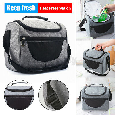 Insulated Lunch Bag Box Thermos Cooler Hot Cold Adult Tote Food for Hiking  e V