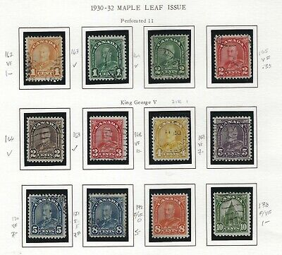 Canada - #162-#183 - King George V Arch/Leaf Issue Used Sets