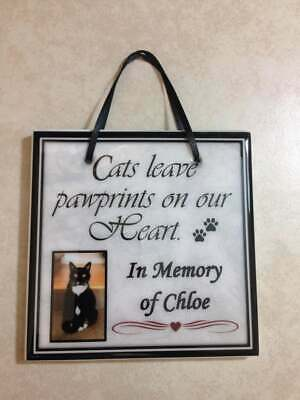 In Memory Of Pet Memorial Sign Plaque Personalized Gift Cats Leave Pawprints