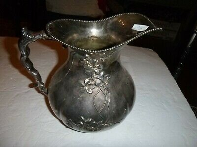 Colonial Silver Co Quadruple Plate Beaded Deco flower Pattern Pitcher
