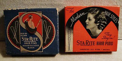 Vintage Advertising STA-RITE HAIR BOBBY PINS BOXES-Beauty-Vanity-SHELBYVILLE-IL