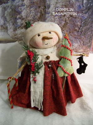 Pattern,sewing,Primitive doll,Christmas,Snowman, girl, by Dumplinragamuffin