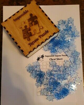 LIGHT BLUE Clear Acrylic IMPOSSIBLE JIGSAW PUZZLE 100 Pieces with wood box