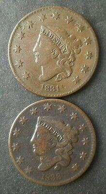 1831 and 1833 1c Liberty Head Large Cents