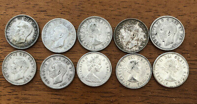 Lot of 10 X 80% Silver Canadian Quarters