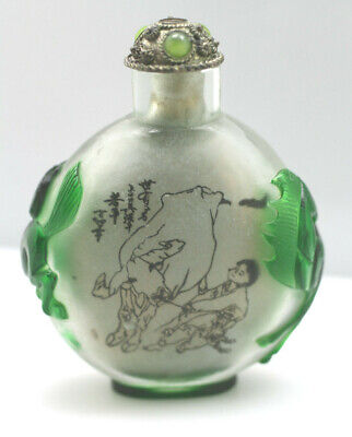 Vintage Antique oriental glass snuff jar painting green carved horses goose cow