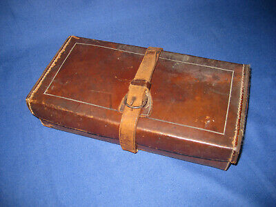 Antique Victorian Small Campaign Medical / Surgical Instrument Leather Case.