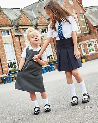 Younger girls 5 pack of white ankle school socks in shoe size 6-8.5 uk new