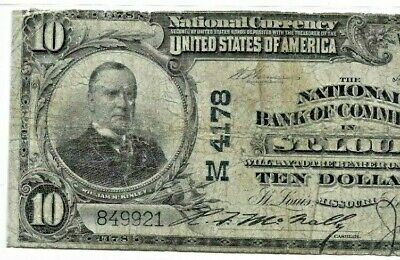 """$10 """"Bank Of Commerce"""" (St Louis) 1902 $10 (Bank Of Commerce)  Blue Seal!!"""