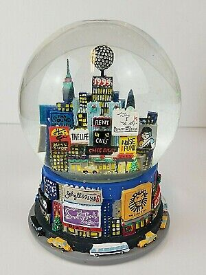 Vintage 2000 New York City Broadway New Years Musical Snow Globe Twin Towers