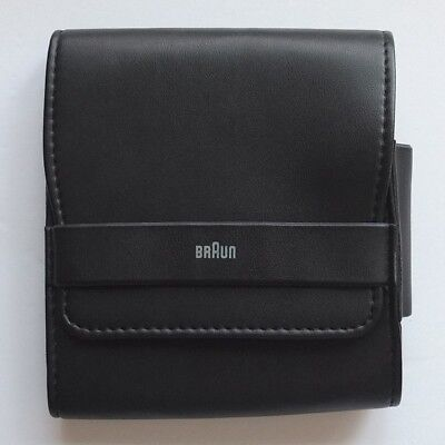"""BRAUN 5"""" x 4⅝"""" leatherette case for electric shaver or other device—perfect cond"""