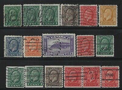 Canada - #192, #195-#201, #205-#207 - King George V Medallion Issue Used Sets