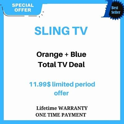 SlingTv orange+blue+Total  Tv deal  lifetime warranty instant delivery