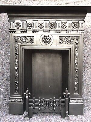 Very Large Victorian / Edwardian Cast Iron Stove / Fireplace Open Fire Surround