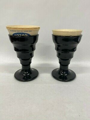 Vintage Black Glass Ice Cream Soda Glass - 2 pc - with paper liners