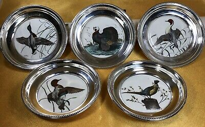 Vintage Lot Of 5 Frank M. Whiting Sterling Silver/Porcelain Coasters Dishes